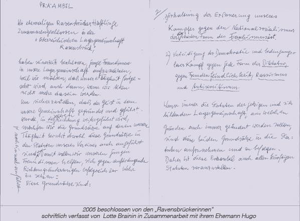 Präambel, schriftlich verfasst von Lotte Brainin